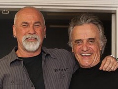 Levi and Terry Kiser on the set of Johnny Dynamo